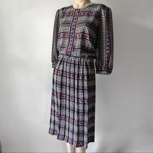 Vintage 80's Floral & Herringbone Pleated Dress